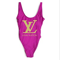LV Louis Vuitton 2018 Women Sexy Fashion Siamese Bikini Swimsuit F-ZDY-AK Purple