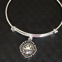 Fire Fighter Department Badge Expandable Charm Bracelet Adjustable Wire Bangle Gift Trendy Fun Unique Fire Fighter Wife Gift