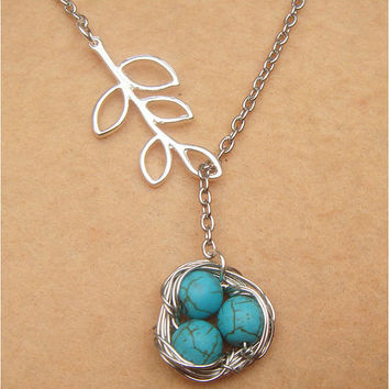 Nest Leaf and Turquoise Necklace by turquoisecity on Etsy