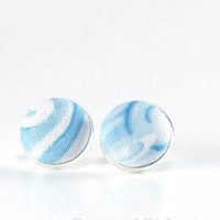 Clouds Earrings, Blue Stud Earrings, White Earring Studs, Fabric Buttons, Weather Jewelry, Silver Toned Posts, Sky Earrings, Cloud Jewelry