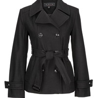 Black Double Breasted Peacoat - Black
