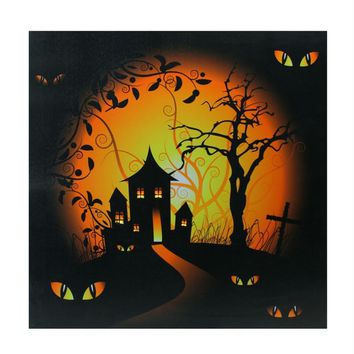 "LED Lighted Spooky House and Eyes Halloween Canvas Wall Art 19.75"" x 19.75"""
