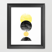 Geller - modern minimal abstract painting white and black gold foil glitter sparkle hipster trendy Framed Art Print by CharlotteWinter | Society6
