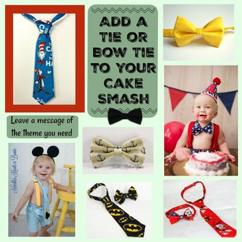 Add a Bow Tie or Tie to your Boys Cake Smash or Birthday Outfit, Boys Birthday Themed Bowtie or Tie