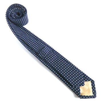 Blue Polka Dot Necktie with Decorative Golden Tipping, Man Tie, Man Necktie