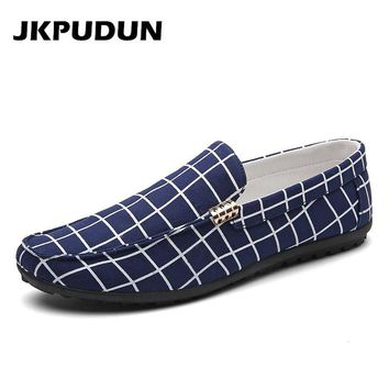 JKPUDUN Men Canvas Gingham Shoes Casual Penny Loafers Summer Designer Fashion Boat Shoes For Men Plimsolls Blue Espadrilles SKOR
