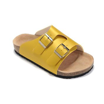 2017 new style birkenstock summer fashion leather cork flats beach lovers slippers casual sandals for women men couples slippers size 36 45 mac593