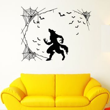 Vinyl Wall Decal Werewolf Halloween Horror Fantasy Beast Bats Stickers Unique Gift (1913ig)