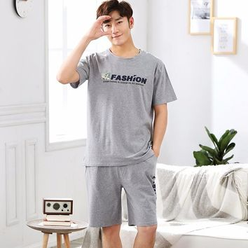 New WAVMIT Men Pajamas Short Sleeve Spring Summer Set Pure Full Cotton