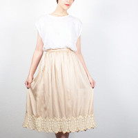 Vintage Champagne Gold Beige Midi Skirt 1970s Knee Length Skirt Embroidery Lace Trim 70s High Waisted Skirt Tea Length Skirt XS Extra Small
