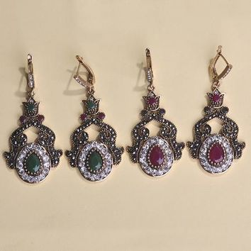 Fine Vintage Turkish Red And Green Earrings Antique Gold Plated
