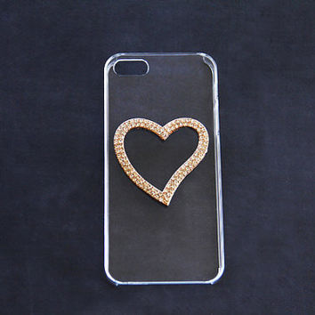 Clear iPhone 5 Case iPhone 5c Heart iPhone 5c Hearts Case iPhone 5c Unique Cover Crystal iPhone 4 4s Heart iPhone 5s Bling Galaxy S5 Heart