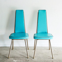 mid century dining chairs, Danish modern, retro chairs, unique shape and aqua color, Lloyd / Heywood Wakefield, pair of chairs, vintage