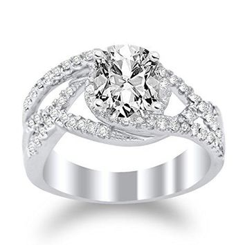 CERTIFIED | 2 Ctw Twisting Curving Engagement Ring w/ Cushion 1.5 Carat Forever One Moissanite Center (Platinum, Yellow, White, Rose)