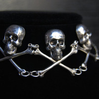 Skull and Crossbones Choker -- The Skullery -- Sterling Silver Choker, Skull Choker, Skull Necklace, Gothic Choker, Memento Mori Necklace
