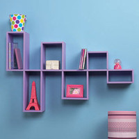 Purple Modular Wall Shelf Unit for Photo's and DVD's CD's Home Teen  Room Decor