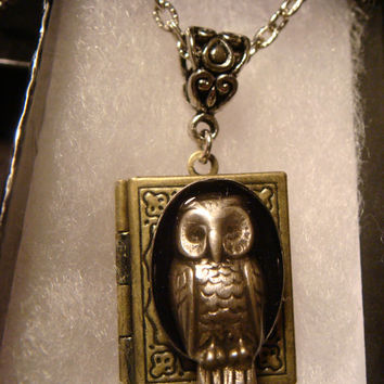 Victorian Style Steampunk Owl Book Locket Necklace- (1173)