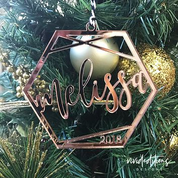 Personalized Name Geometric Christmas Ornament, Mirror Acrylic