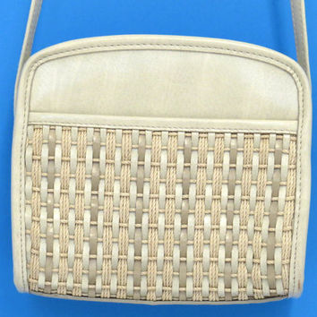 Natural White Woven Satchel Purse Cream Ecru Shoulder Bag Small Purse Vegan Leather Oatmeal Light Beige Liz Claiborne Retro Indie Handbag