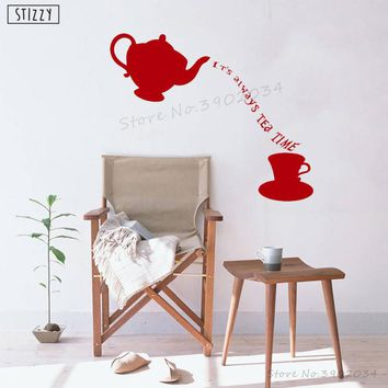 STIZZY Wall Decal Alice In Wonderland Wall Sticker Quotes It's Always Tea Time Kids Room Kitchen Vinyl Decor Gift Modern DIY B58