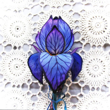 Violet Blue Iris Lighted Faerie Wand