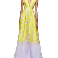 Sleeveless Open-Back Two-Tone Gown, Citrine/Lilac