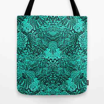Turquoise Black Tapestry look Intricate design Tote Bag by Rokin Art by RokinRonda