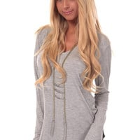 Heather Grey Long Sleeve V Neck Top