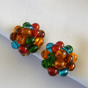 Glass Bead Earrings, Multi Colored Glass Bead Cluster Earrings, Glass Bead Jewelry