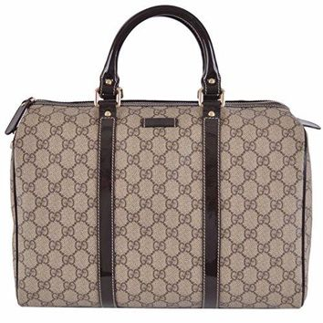 Gucci Women's Beige Brown GG Supreme Canvas Boston Purse Satchel