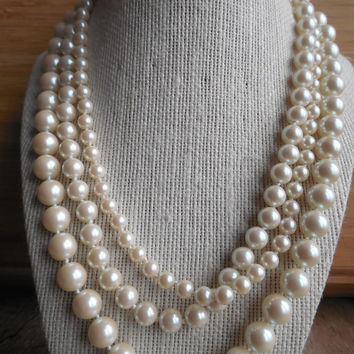 8 Inch Multi Strand Faux Pearl Necklace