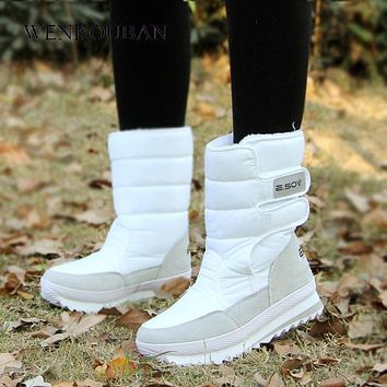 Fashion Platform Ankle Boots For Women White Snow boots Hook Loop Warm Plush Winter Shoes Women Waterproof Non Slip Botas Mujer