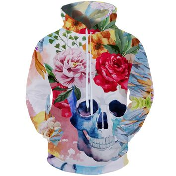 Cloudstyle 2018 High Street Style 3d Hoodies Sweatshirt Men Skull Hooded Pullover Longsleeve Skeleton Flower Funny Plus Size 5XL