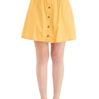 ModCloth 80s Short Length A-line Curry Your Enthusiasm Skirt in Marigold
