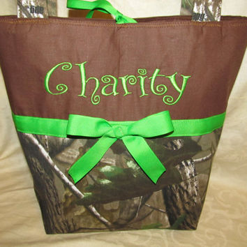 FREE SHIPPING handmade custom realtree camo camoflauge lime green purse you choose ribbon color and name/initials