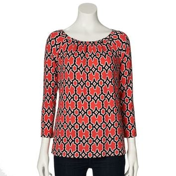 Dana Buchman Printed Shirred Top