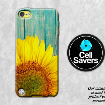 Sunflower Wood iPod 5 Case iPod 6 Case iPod 5th Generation iPod 6th Generation Rubber Case Gen Yellow Sunflower Ombre Blue Wood Grain Tumblr