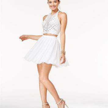 Say Yes to the Dress Juniors' 2-Pc. Embellished Halter Dress, A Macy's Exclusive | macys.com