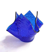 Small Handkerchief Style Artisan Glass Candle Holder in Transparent Cobalt Blue