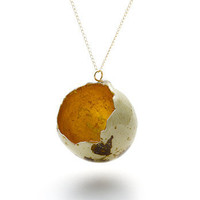 Gold-lined quail egg by Stephanie Simek - Necklaces - Unique modern jewellery by independent designers. Oye Modern.