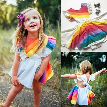 US Kids Flower Baby Girls Party Tutu Dress Rainbow Wedding Bridesmaid Princess