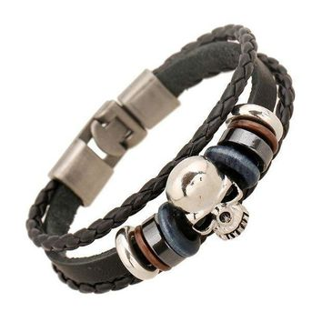 1 Pc 2017 New Product Fashion Jewelry Leather Bracelets Men Casual Personality Alloy Vintage Punk Bracelet