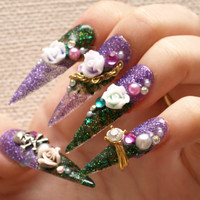 Stiletto nails, nails set, super long nails, purple nail, green nail, 3D nails, drag queen, pretty nail, Japanese, gyaru nail, nails