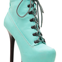 Mint Faux Nubuck Platform Hiker Booties