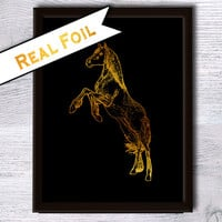 Horse print Horse poster Animal poster Real gold foil decor Animal print Home decoration Wall hanging Nursery room decor Kids room art G22