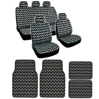 BDK Stripe Line Design Gray ZigZag Car Seat Cover Car 13 PC Set Van Car SUV