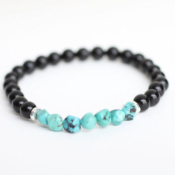 Protection Bracelet. Turquoise Bracelet. Obsidian Bracelet. Dispel Negative Energy. Public Speaking Bracelet. Emotionally Calming Bracelet.