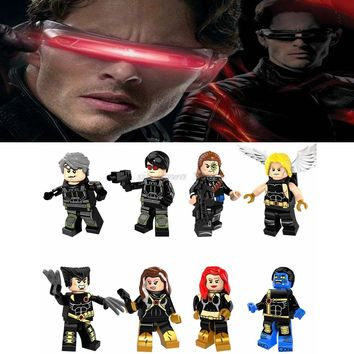 Legoing Marvel Super heroes figures Cyclops Angel Wolverine Quicksilver Longshot Model Building Blocks Toys for Children Legoing