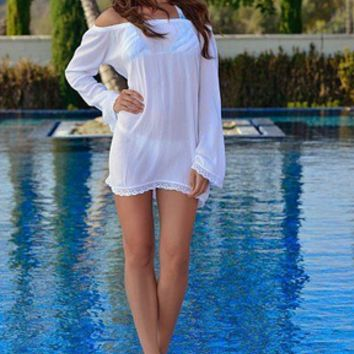 White Off Shoulder Beach Dress