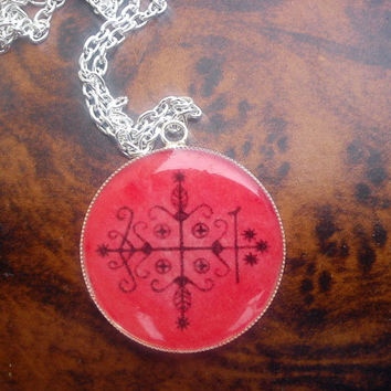 Powerful Voodoo Veve of Papa Legba pendant. To remove obstacles and provide opportunities.